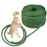 O'woda Cat Natural Sisal Rope for Scratching Post Tree Replacement, 1/4 inch Diameter, Natural Dyes, for Repairing, Recovering or DIY Scratcher, Hemp Rope for Cat Tree Tower (66Ft, Green)
