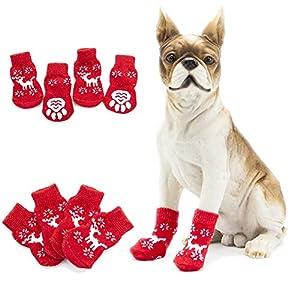 Catkoo Lot de 4 Accessoires pour Chien de Noël pour l'hiver et la Jambe, Respirant, Chaussettes de Protection pour Les Genoux Rouge X