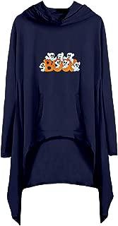 Jeash Women O-Neck Halloween Print Long Sleeve Pocket Shirt Asymmetry Casual Hooded Dress