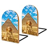 The Sphinx and Pyramid Book Ends for Shelves Wooden Bookends Holder for Heavy Books Divider Modern Decorative 1 Pair