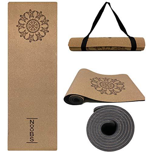 Noobs Premium Kork Yogamatte rutschfest, schadstofffrei, nachhaltig, Gymnastikmatte 183x61cm 6mm dick Fitnessmatte mit Schildkröten Mandala Design