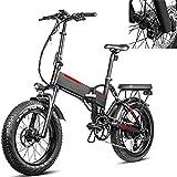 Bicicleta eléctrica Velocidad máxima de conducción 45 km/h Bicicletas Plegable Bicicleta electrica montaña Iones de Litio 13.6AH Freno Frenos de Disco mecánicos, Negro