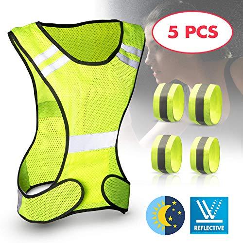 tEEZErshop Warnweste Set, Sicherheitsweste mit Längenverstellbaren Klettverschluss, Warnweste Fahrrad für Laufen,Straßenverkehr,Nächtliche Aktivitäten im Freien (mit 4 Reflektorband)