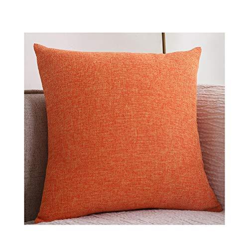 YIAO Llanura de algodón de Lino del Amortiguador del sofá Grueso Cuadrado Almohada Color sólido de Lino de la Almohadilla de la Sala Volver Almohada Cojín,Orange-50x50 (Pillowcase)
