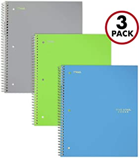 Five Star Spiral Notebooks, 3 Subject, College Ruled Paper, 150 Sheets, 11 inches x 8-1/2 inches, Gray, Lime, Teal, 3 Pack (73481)