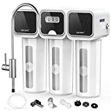 GEE BON Under Sink Water Filter System, 5-Stage 0.01 Micron High Precision, Fast Flow Tankless,1:0 Drain Ratio with Water Filter Faucet Removes 99.99% Bacterial, Lead, Chlorine, Fluoride