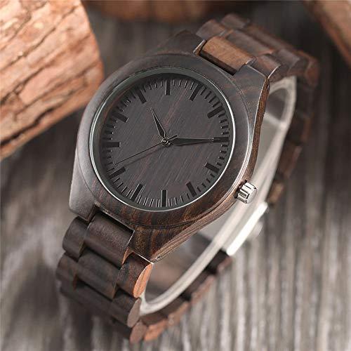 RWJFH Reloj de Madera Reloj de Hombre de diseño de bambú de Madera Hecho a Mano a la Moda Natural, Cierre de Pulsera, Reloj de Madera Fresca de Lujo