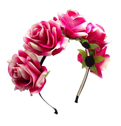 TOOKY Rose Flower Wreath Garland Floral Halo Crown Headband Hair Band Bridal Valentine Gift (Hot pink)
