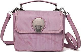 Tussy Women's leather shoulder bag multi-function Messenger bag fashion handbag retro small square bag (Color : Purple, Size : 16 * 22 * 9cm)