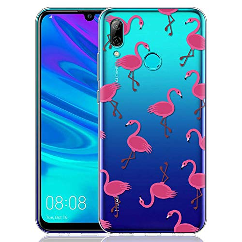 ZhuoFan Huawei P Smart 2019 Hülle, Schutzhülle Silikon Transparent mit Muster Motiv Handyhülle Ultra Dünn Slim Stoßfest Weich TPU Bumper Case Backcover für Huawei P Smart 2019, Feuervogel