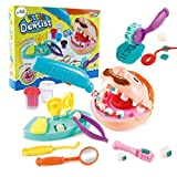 Deardeer Play Dough Dentist Set Doctor Drill and Fill Playset Retro Playdough Creation with Moulds and Models Kids Gift Set