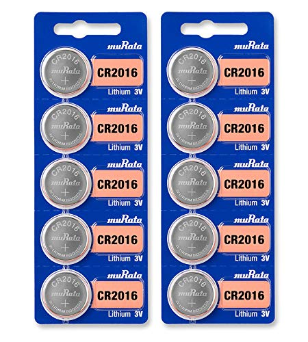 Murata CR2016 Battery 3V Lithium Coin Cell - Replaces Sony CR2016 (10 Batteries)