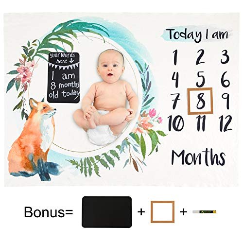 Beinou Baby Monatliche Meilenstein Decke Flanell Fotografie Requisiten Hintergrund Monats Matten Wachstum Alter Decken Swaddling Wickeldecke Dusche Geschenk für Neugeborene Mädchen Jungen 130 x 102cm