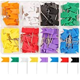 SUBANG 160 Pieces Colorful Push Pins Flag Map Tacks - Map Pins of Each Color Part in 8 Boxes, 8 Colors Push Tacks
