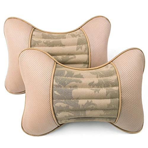 ZSHXX 2pcs6 Colores algodón Transpirable Cuello de Cuello Almohada Malla de Cazador de Malla Auto Universal Cushion Car-Styling (Color : Beige)