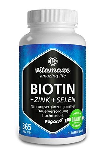Biotin hochdosiert 10.000 mcg + Selen + Zink für Haarwuchs, Haut & Nägel - Der VERGLEICHSSIEGER...