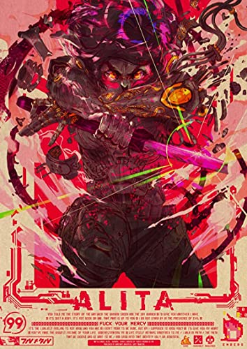 Yiwuyishi Anime Designs Alita Battle Angel Toile Affiche Art Fantastique Wall Sticker pour Café Maison Bar Décoration 50x70cm (19.68x27.55 in) P-409