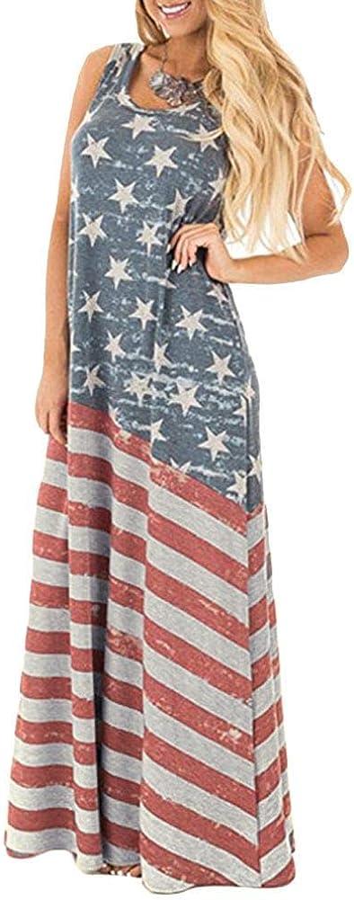 Spadehill Easy-to-use Women July 4th American Summer Flag Fashion Dress Maxi