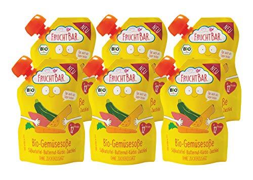 FruchtBar Bio-Gemüsesoße, Süßkartoffel, Butternut-Kürbis, Zucchini; 6 x 190g