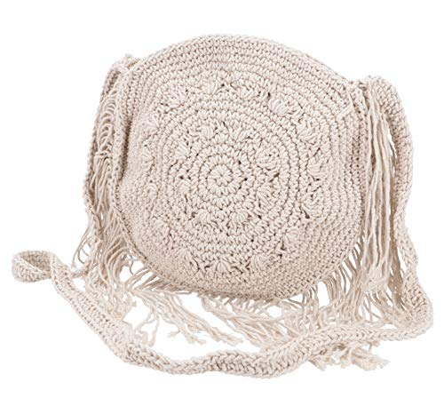Guru-Shop Makramee Umhängetasche, Schultertasche Rund - Modell 1, Herren/Damen, Weiß, Baumwolle, Size:One Size, 25x25 cm, Alternative Umhängetasche, Handtasche aus Stoff