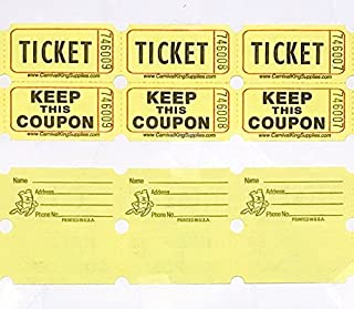 fb 100 Yellow Colored Raffle Tickets Double Roll 50/50 Carnival Fair Split the Pot One Hundred Consecutively Numbered Fund...