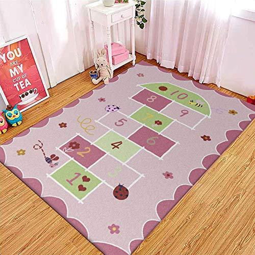 CMwardrobe Kinder Antirutsch Teppich Spielteppich Moderner Spielteppich Kinderzimmer Rosa SpaßZahl Ultrasoft Kurzflor Babydecke Matte 150×200CM