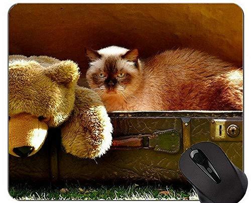 Yanteng Alfombrillas de ratón, Alfombrillas de ratón exóticas de Gato de Pelo Corto Personalizadas, Alfombrilla de ratón de Peluche con Borde Cosido
