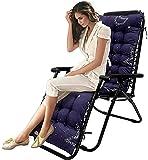 Bedspread Cojín grueso para tumbona, sillón reclinable de jardín, cojín de repuesto para muebles de patio, con capucha antideslizante y lazos para jardín, interior y exterior, 170 x 48 cm