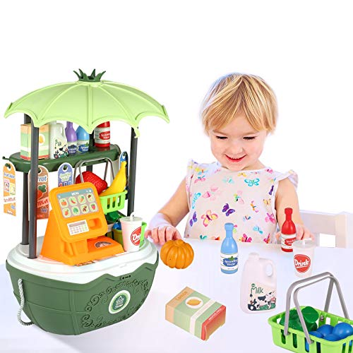 Toy Cash Register for Kids Mini Shopping Cart Portable 49PCS Grocery Store Pretend Play Money and Food Boxes Accessories Preschool Educational Interactive Learning Toys Birthday Gifts for Boys Girls
