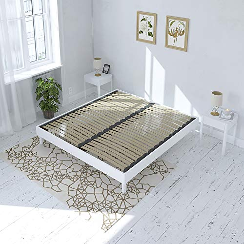 Maison Aubertin Sommier à Lattes en KIT- Bois - Couleur Blanche 160x200 CM
