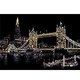 Scratch Paper, Rainbow Scratch Art Londres Puente de la torre World Famous Attractions Dibujo Scratch Láminas para Rascar Creativas Papel para Dibujar con Ni?os, Manualidades Scratch Sketch,Black