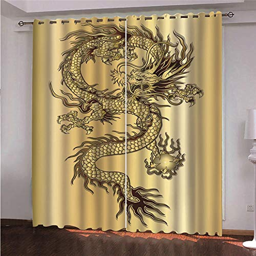 BWBJJ Cortinas Opacas 3D Dragón Dorado 58.5x138 cm 3D Cortinas Opacas Modernas Sombreado Ventana Cortinas De Impresión para Salón Dormitorio