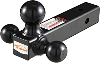 Towever 84172 Trailer Hitch Tri Ball Mount (for Class 3/4 2 inches Receiver, Black Powder Coated, Hollow Shank)