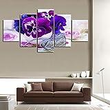 LWJPD Cuadro en Lienzo 5 Partes Arte De Pared Moderno Flor De Mariposa Púrpura Paisaje Lienzo Pintura Decoración De Pared Contemporánea Imagen Modular Sin Marco 60 Inch