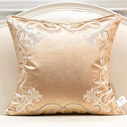 Avigers 20 x 20 Inch European Cushion Cover Luxury Velvet Home Decorative Embroidery Petunias Pillow Case Pillowcase for Sofa Chair Bedroom Living Room, Beige