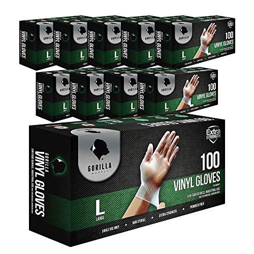 1000 Gorilla Supply Heavy Duty Vinyl Gloves Large 10 of 100 Powder Free 4mil Disposable