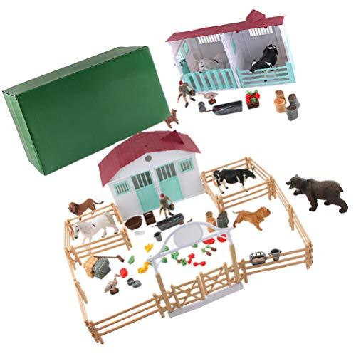 TOYANDONA 1 Juego 72 Piezas Juguete de Simulación Juego de Granja Modelo de Casa Modelo de Adorno de Bricolaje Niños Agricultor Actor Jugador Juguete Granja Modelo de Escena