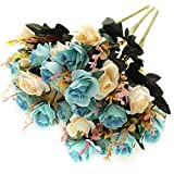 SUNNEGO Flores Artificiales,Flores Artificiales Decorativas Falsas Flores de Seda para el Ramo de Novia, Bodas,Rosas Azules Falsa decoración 6 Rama 12 Cabezas decoración (Azul, 3)