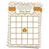 Bingo Games Chevron Little Pumpkin, Blanco, Naranja, Marrón, Verde, Lunares, Rayas Chevron, Calabaza Baby Shower, Otoño, 24 Tarjetas de Juego Impresas