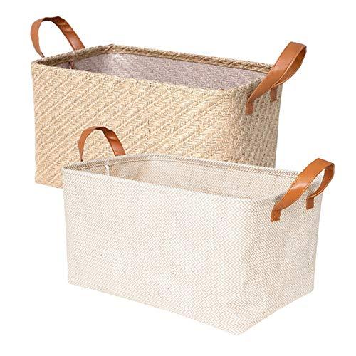 Nati - Cesta de almacenamiento de yute y algodón de lino, 2 cajas de almacenamiento plegables, organizador para la ropa de juguetes, mango de piel artificial, 26 x 21 x 16 cm