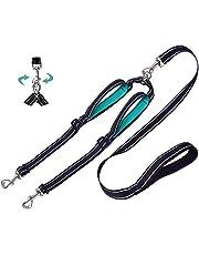 Plomo doble para perros, separador de correa doble, divisor sin enredos con manijas acolchadas cómodas caminar 2 perros, cables de perro reflectantes ajustables para perros medianos pequeños