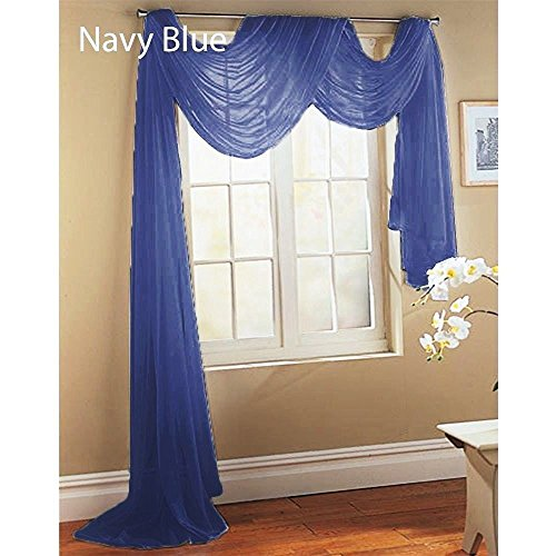 "GorgeousHomeLinenDifferent Colors & Sizes 1 Sheer Panel or 1 Scarf Valance Drapes Voile Window Treatments Rod Pocket Curtain or Elegant Swag Valance (37"" W x 216"" L Valance, Navy Blue)"