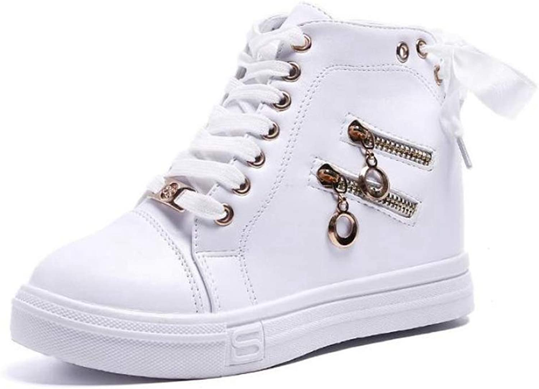 Wallhewb Women Wedge Platform Rubber High Heel shoes Fashion Pointed Toe Increasing Zipper Leather Lace Up Sneakers Elegant Soft Joker Comfortable Skinny Black 7.5 M US High Heel shoes