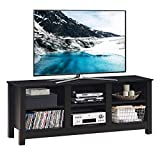Tangkula Wooden TV Stand for TVs up to 60 Inches Flat Screen, Universal Entertainment Center with 6 Open Shelves for Living Room Bedroom, TV Console Table, Black