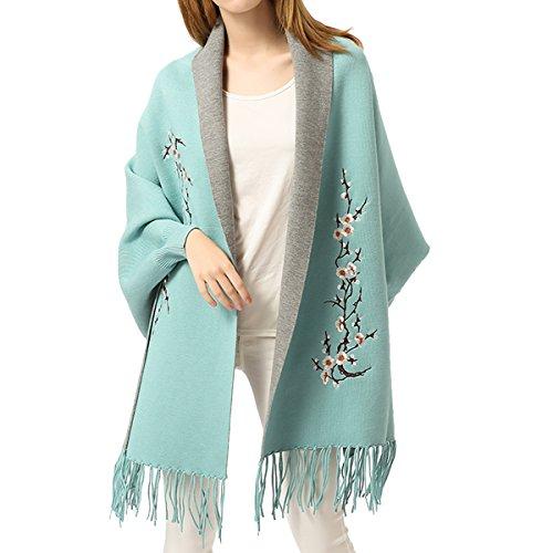Zisuex - Poncho bordado para mujer, Azul, 76*25 inch( Tassels:3.9 inch)|195*65cm