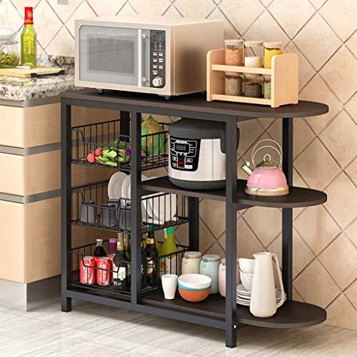 US Fast Shipment Quaanti Kitchen Baker's Rack, Microwave Oven Stand Storage Cart Workstation Shelf, Free Standing Floor Shelving Utility Unit for Spice Rack Storage Baskets Organizer (Black)