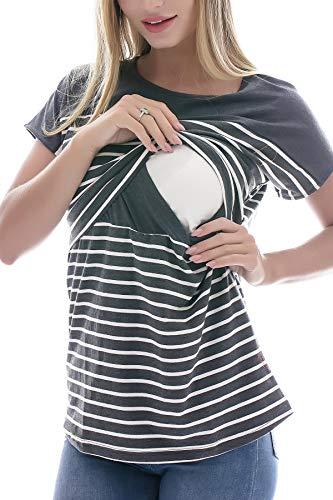 Smallshow Stillshirt Kurzarm Umstands Tshirt Umstandstop Umstandsmode Stilltop Baumwolle Schwangerschaft Streifen Shirt L Deep Grey