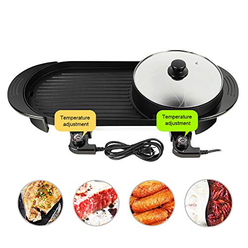 Great Features Of Portable Electric Grill, Pevor 2 in 1 Multifunctional Electric Dual Temperature Co...