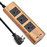 SUPERDANNY 9.8ft Surge Protector Power Strip Wood Grain Desktop Charging Station Extension Cord 3 Outlet 2 USB Fire-Retardant with Fastening Cable Tie for iPhone iPad Computer Home Office