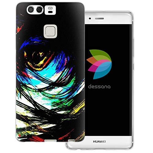 dessana Abstract schilderij transparante beschermhoes mobiele telefoon case cover tas voor Huawei, Huawei P9, Expressionisme